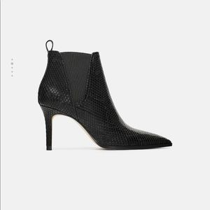 Zara animal print heeled ankle boots